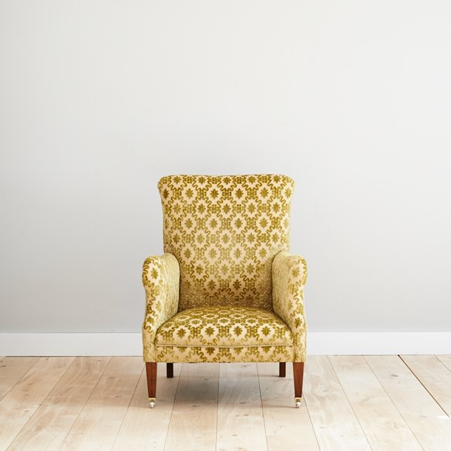 Tranbury arm chair upholstered in yellow