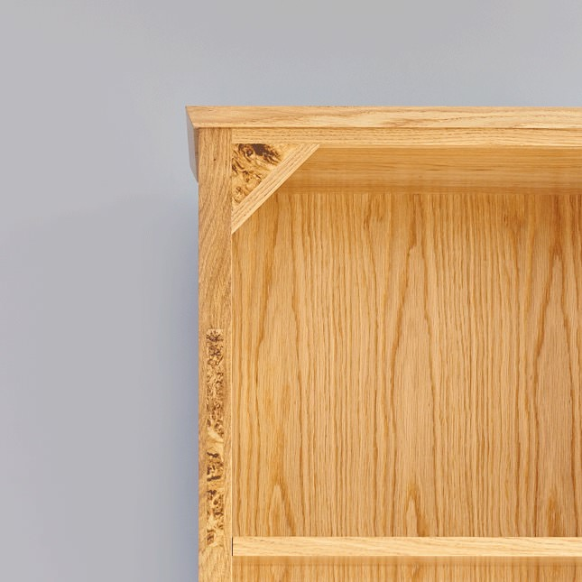 Detail of Burr Oak inlay on bookcase