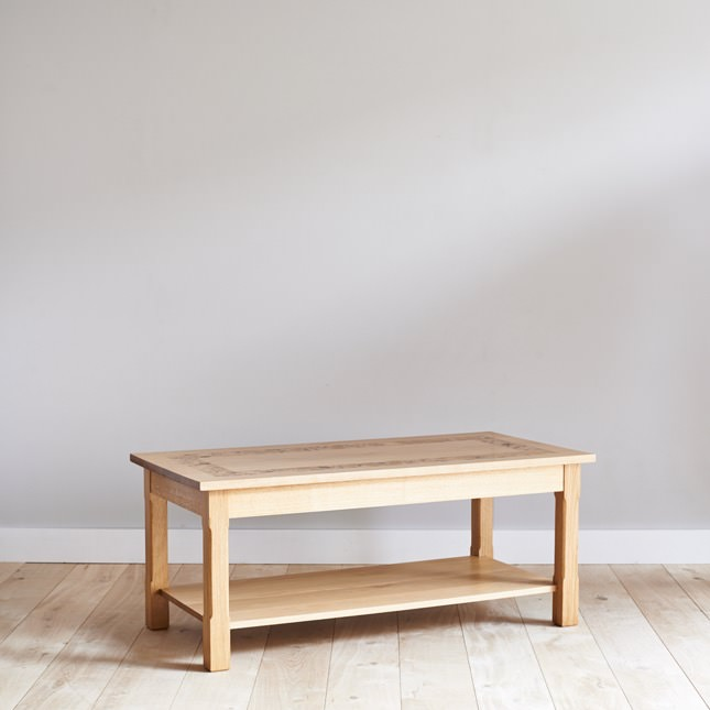 Angled view of Dalesbred oak coffee table