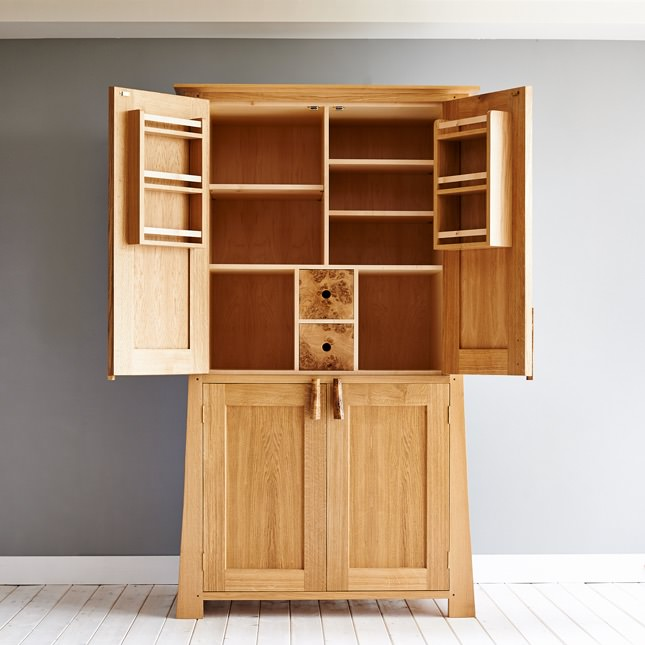 The Curved Larder Cupboard with it's top doors open showing its shelves