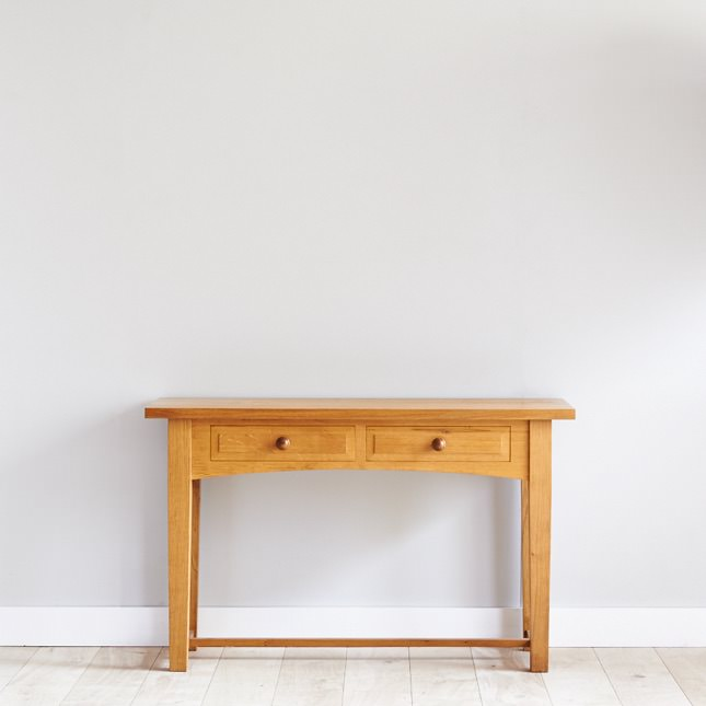 European Oak Hall Table with 2 drawers