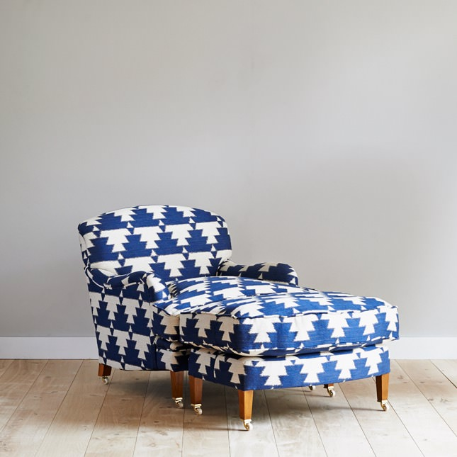 Dalesbred Kalkaber arm chair and stool in bold print fabric