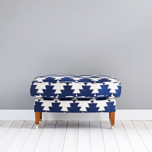Kalkaber footstool in bold upholstery print