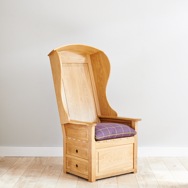 High backed, European oak Lambing Chair