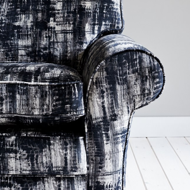 Close up view of Norber Sofa in black and white patterned material