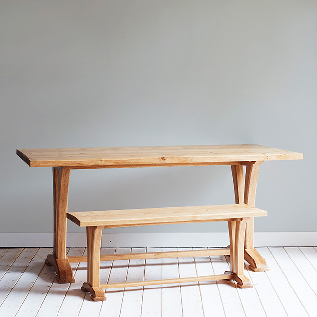 Curved Refectory Table with bench