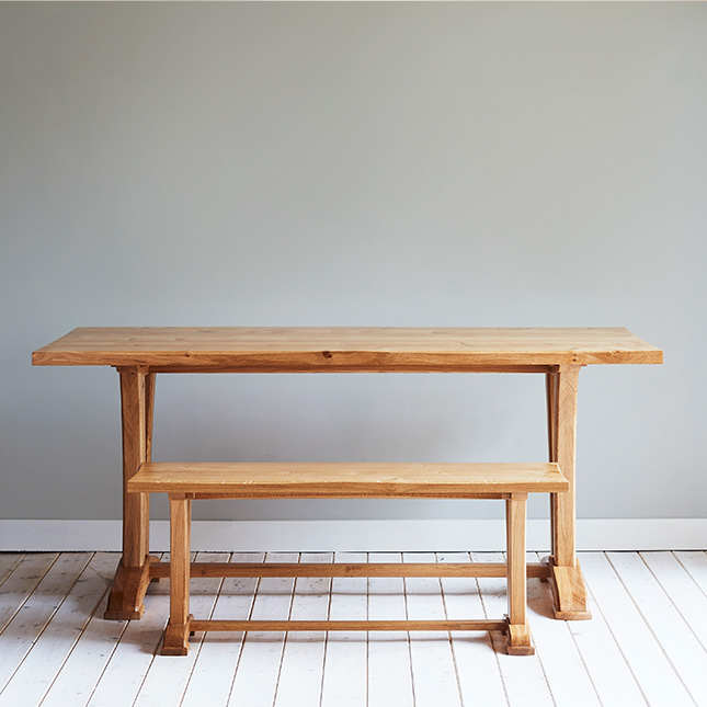 hand crafted oak Curved Refectory Table